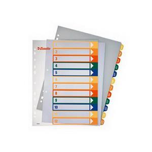 Plastikiniai spalvoti skiriamieji lapai ESSELTE, A4, MAXI