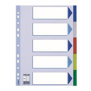 Plastikiniai spalvoti skiriamieji lapai ESSELTE, A4