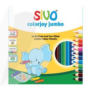 Spalvoti stori pieštukai SIVO JUMBO, 12 spalvų su 1 drožtuku