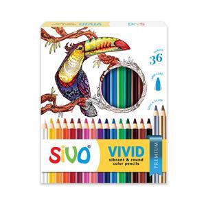 Spalvoti pieštukai, apvalūs, SIVO Vivid, 36 spalvos