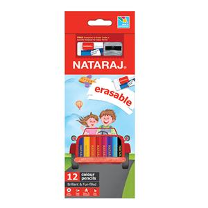 Spalvoti pieštukai NATARAJ, ištrinami, 12 spalvų, su drožtuku ir trintuku