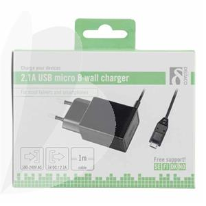 Įkroviklis DELTACO 220V tinklo, 2.1A micro USB 1m kabelis, juodas / USB-AC75