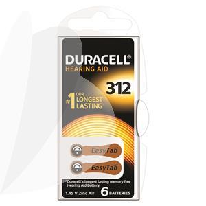 Baterijos klausos aparatui DURACELL 312, 6 vnt.