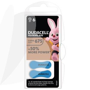 Baterijos klausos aparatui DURACELL 675, 6 vnt.