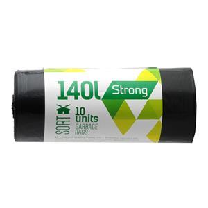 Šiukšlių maišai SORTEX, 140 l, 35 mikr, LDPE, 70 x 110 cm, 10 vnt., juodos sp.