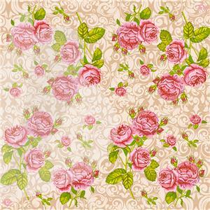 Servetėlės LLK LUXY Rožių puokštė, 3 sluoksnių, 20 vnt., 33 x 33 cm, šampano