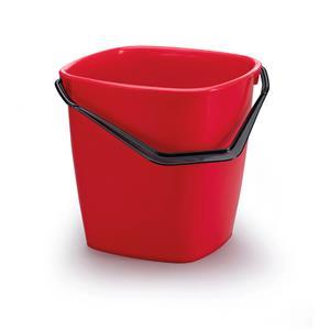 Plastikinis kibiras DURABLE su plastmasine rankena, kvadratinis, 14 L, raudona