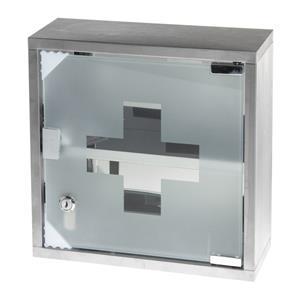 Metalinė pirmosios pagalbos spintelė su stiklinėmis durelėmis, pilka sp.