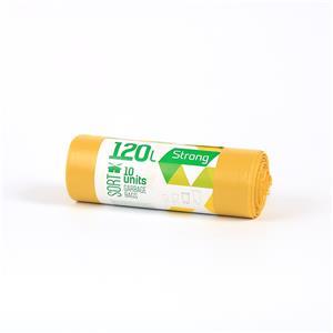 Šiukšlių maišai SORTEX, 120 L, 10 vnt. ritinyje, 35 mik, LDPE, 70 x 100 cm, geltona sp.