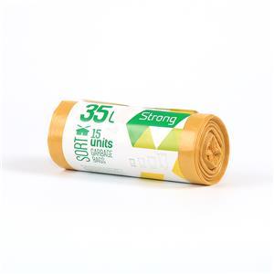 Šiukšlių maišai SORTEX, 35 L, 30 mik, 15 vnt. ritinyje, LDPE, 50 x 60 cm, geltona sp.