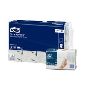 Popieriniai rankšluoščiai TORK Xpress Multifold, 2 sl., 190 servetėlių, 23.4 x 19.66 cm, balta sp. su lapų imitacija