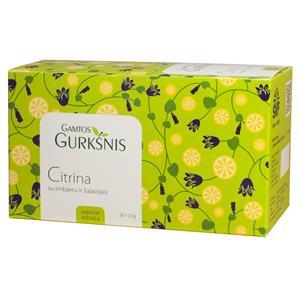 Vaisinė arbata GAMTOS GURKŠNIS, su citrina, imbierais ir šalavijais, 20 x 1,5 g