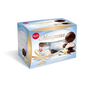 Zefyrai LAIMA Maigums Mini, vanilinio skonio, su šokolado glaistu, 185 g