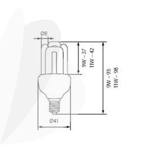 Energija taupanti lemputė KANLUX 4U MINI 9W, E14