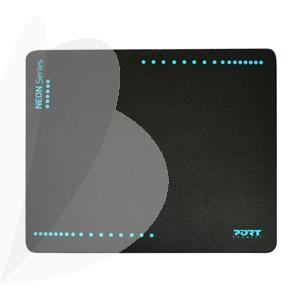 Belaidė neoninė pelė su kilimėliu PORT, mėlyna sp.